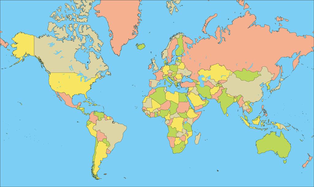 世界地図-ミラー図法ep-国別-海