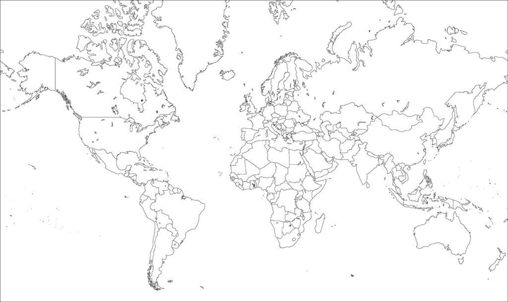 世界地図-ミラー図法ep-白地図-国境あり