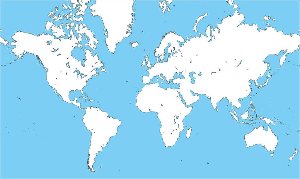 世界地図-ミラー図法ep-白地図-国境あり-海