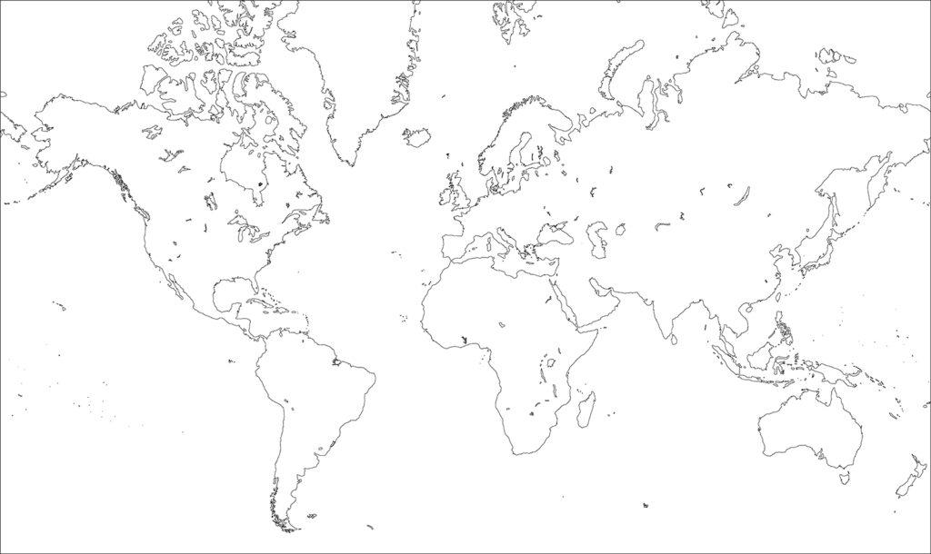 世界地図-ミラー図法ep-白地図-国境なし