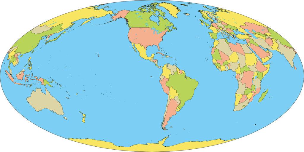 世界地図-モルワイデ図法am-国別-海