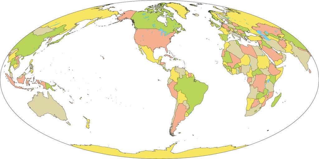 世界地図-モルワイデ図法am-国別