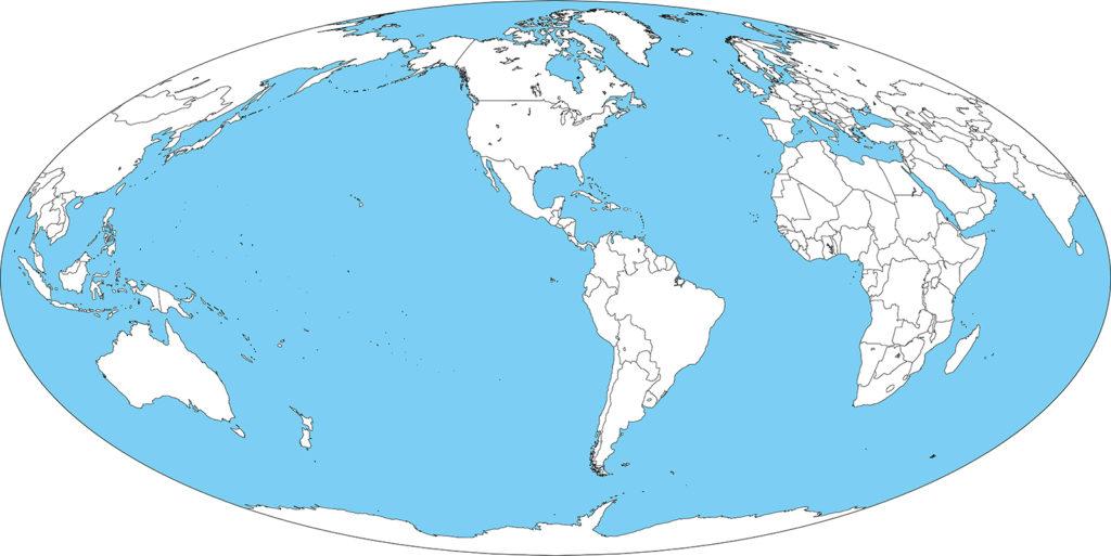 世界地図-モルワイデ図法am-白地図-国境あり-海