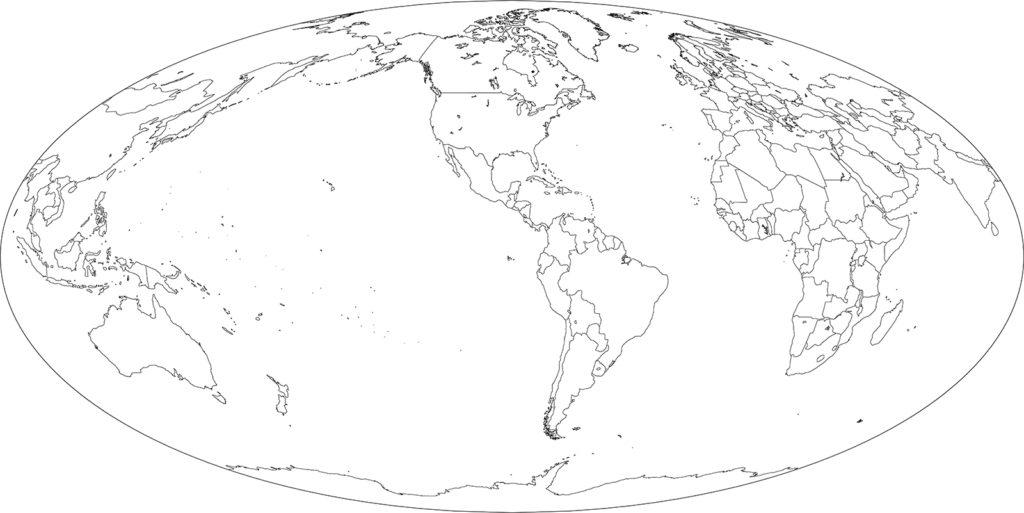 世界地図-モルワイデ図法am-白地図-国境あり