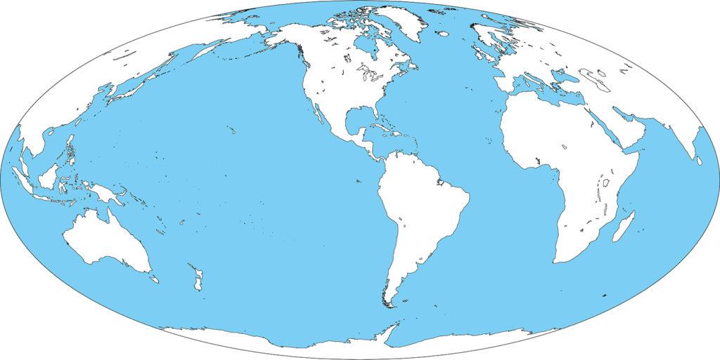 世界地図-モルワイデ図法am-白地図-国境なし-海