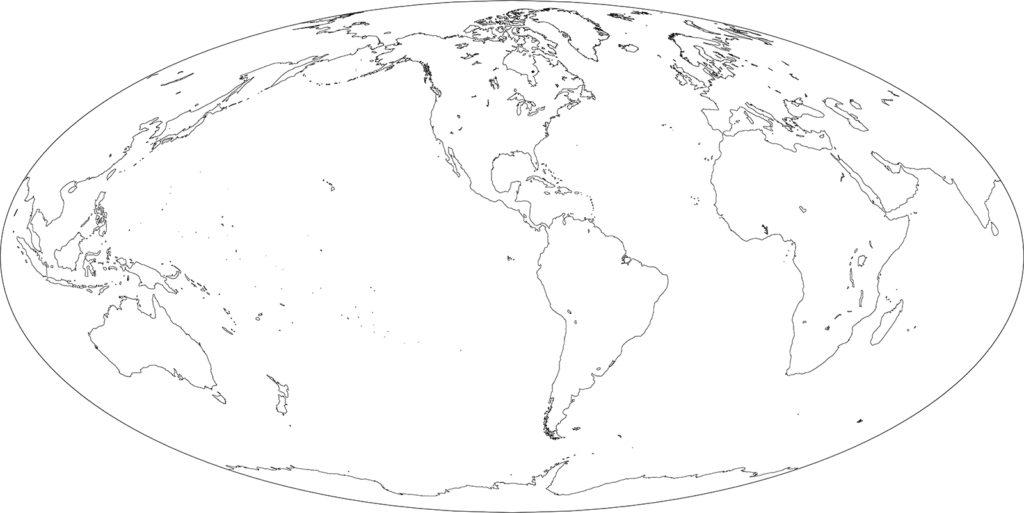 世界地図-モルワイデ図法am-白地図-国境なし