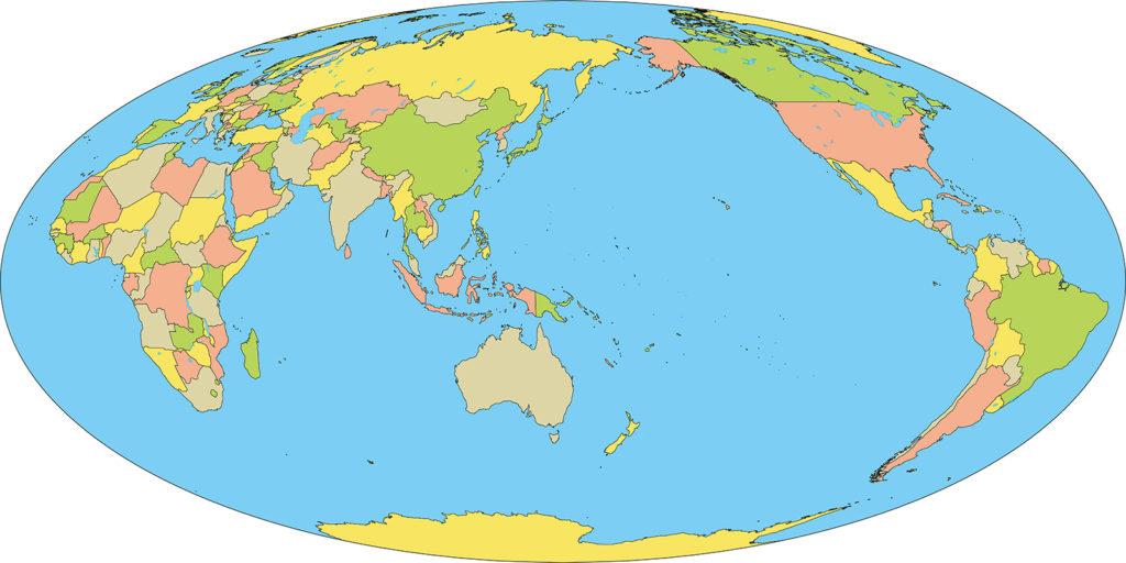 世界地図-モルワイデ図法as-国別-海