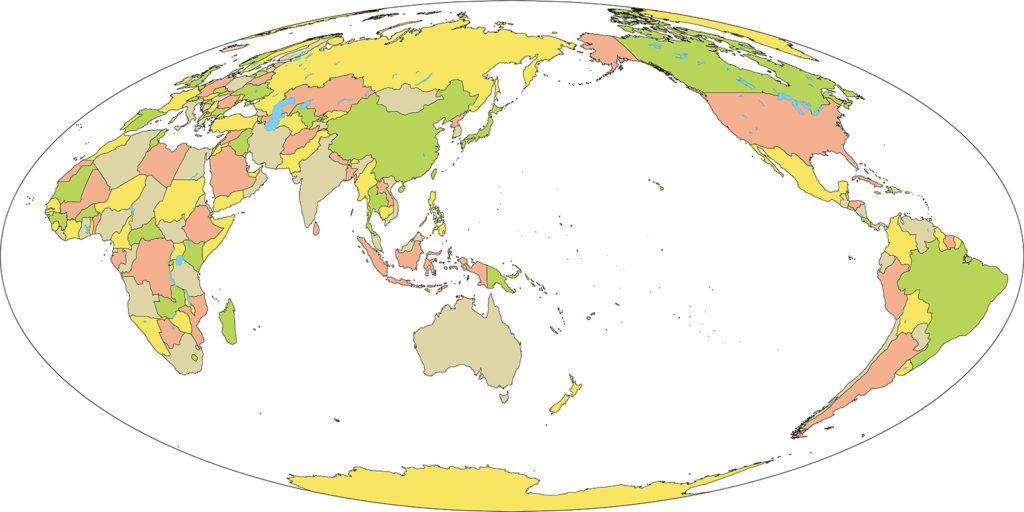 世界地図-モルワイデ図法as-国別