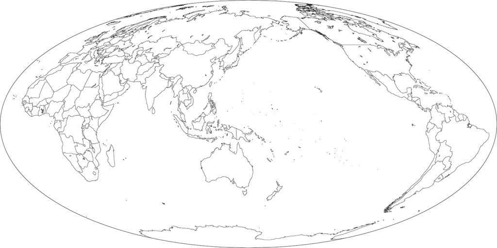世界地図-モルワイデ図法as-白地図-国境あり