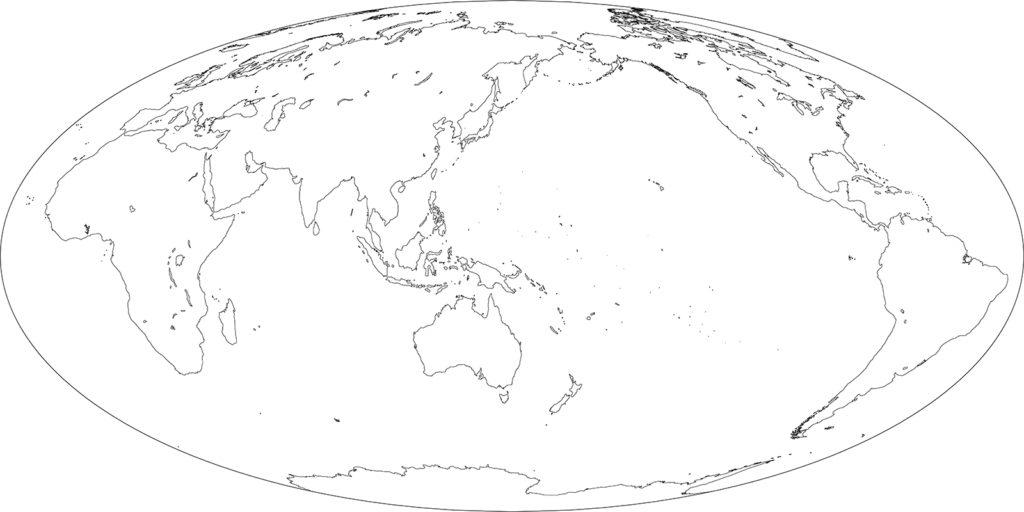 世界地図-モルワイデ図法as-白地図-国境なし