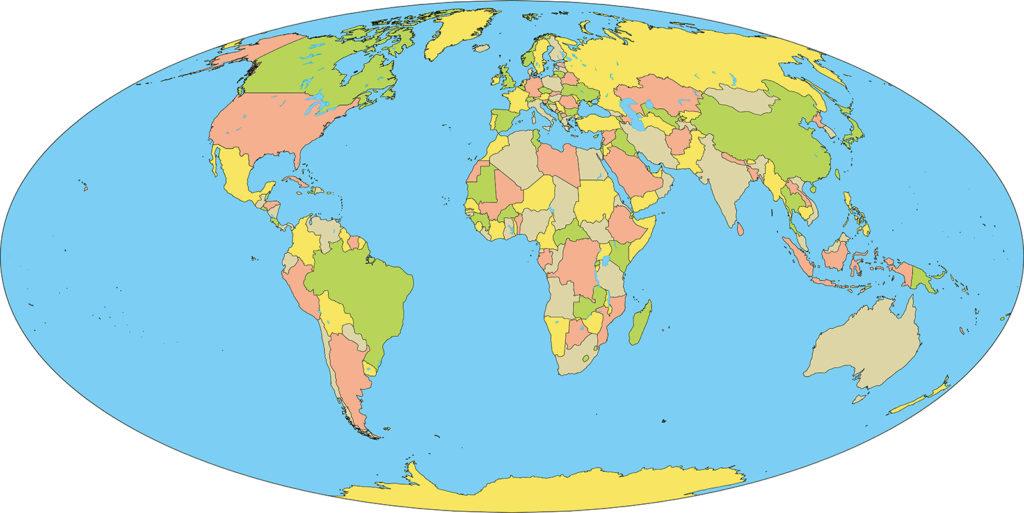 世界地図-モルワイデ図法ep-国別-海