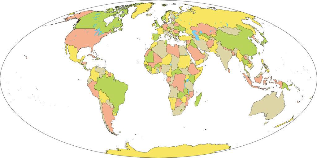 世界地図-モルワイデ図法ep-国別