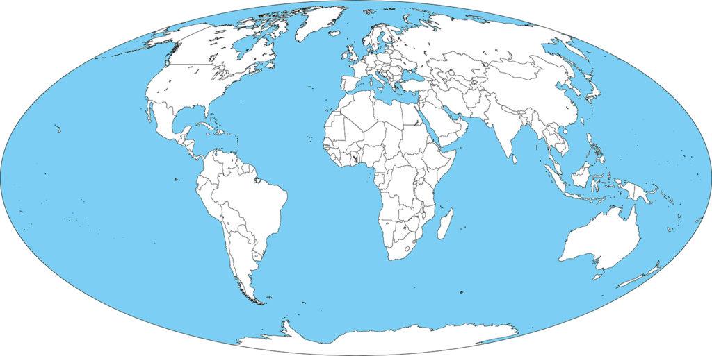 世界地図-モルワイデ図法ep-白地図-国境あり-海