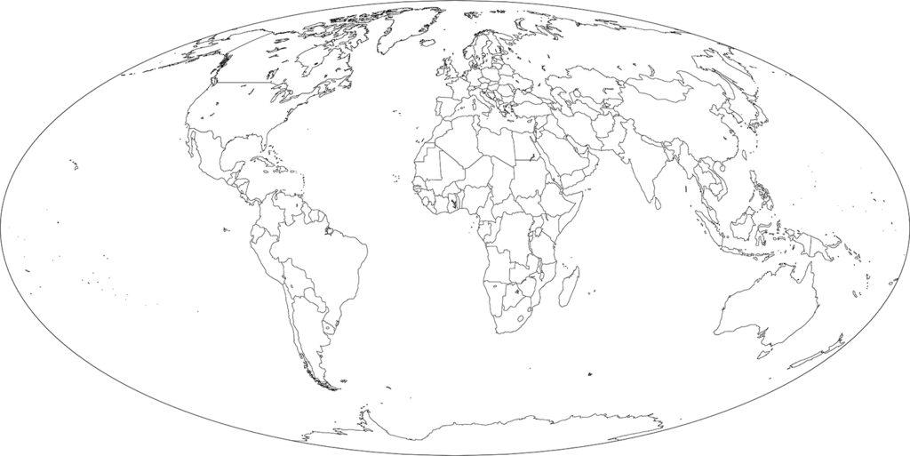 世界地図-モルワイデ図法ep-白地図-国境あり