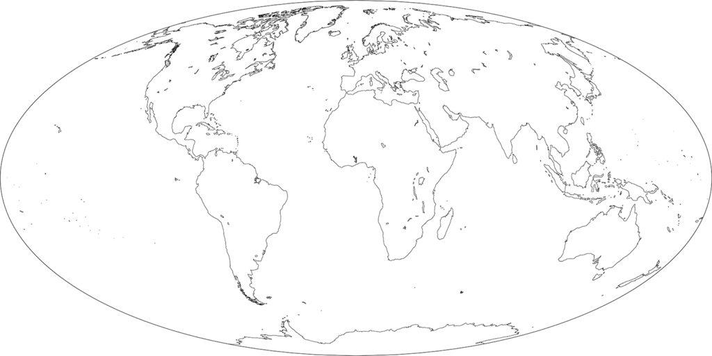 世界地図-モルワイデ図法ep-白地図-国境なし