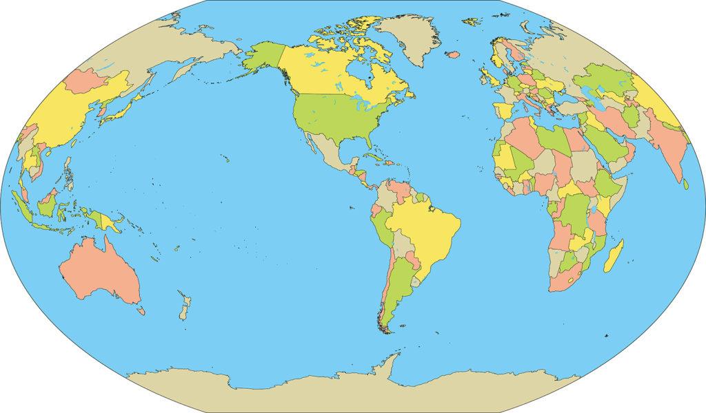 世界地図-ヴィンケル図法am-国別-海