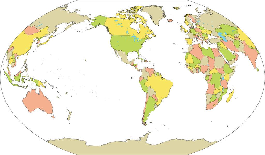 世界地図-ヴィンケル図法am-国別