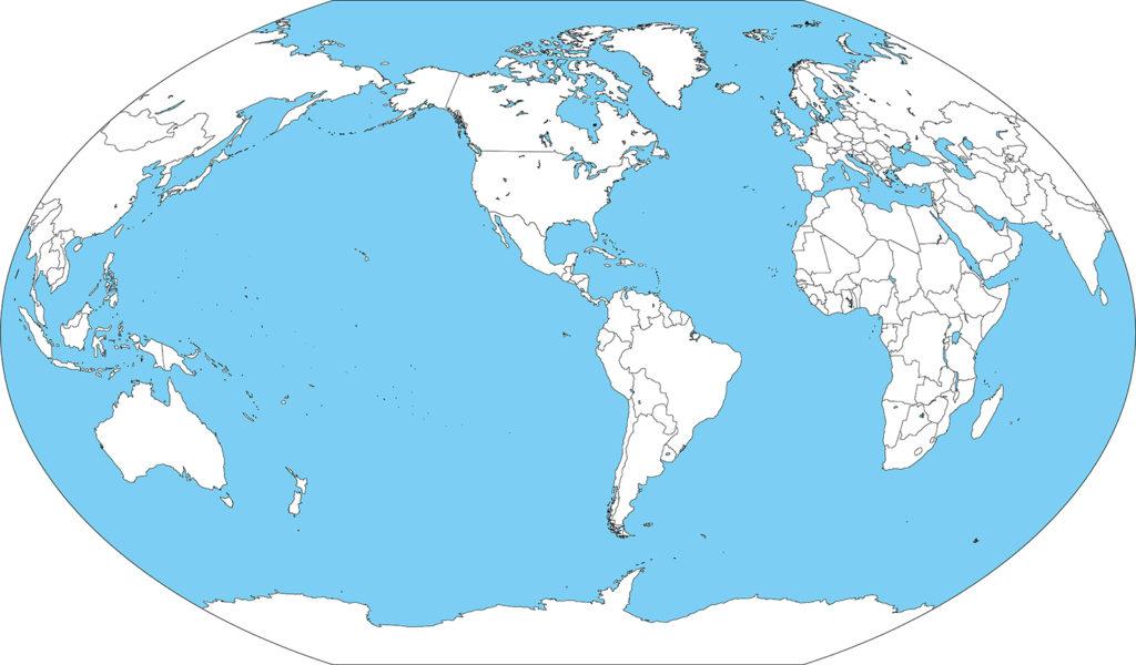世界地図-ヴィンケル図法am-白地図-国境あり-海
