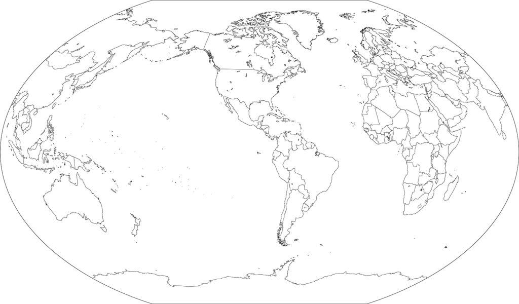 世界地図-ヴィンケル図法am-白地図-国境あり