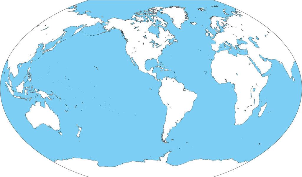 世界地図-ヴィンケル図法am-白地図-国境なし-海