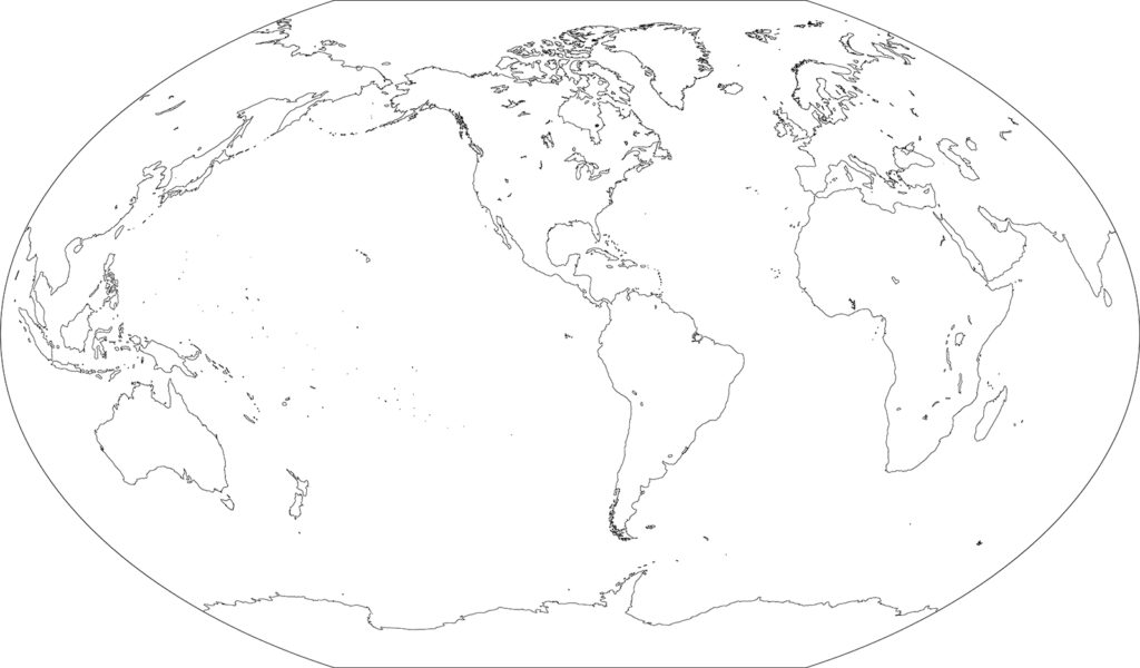 世界地図-ヴィンケル図法am-白地図-国境なし