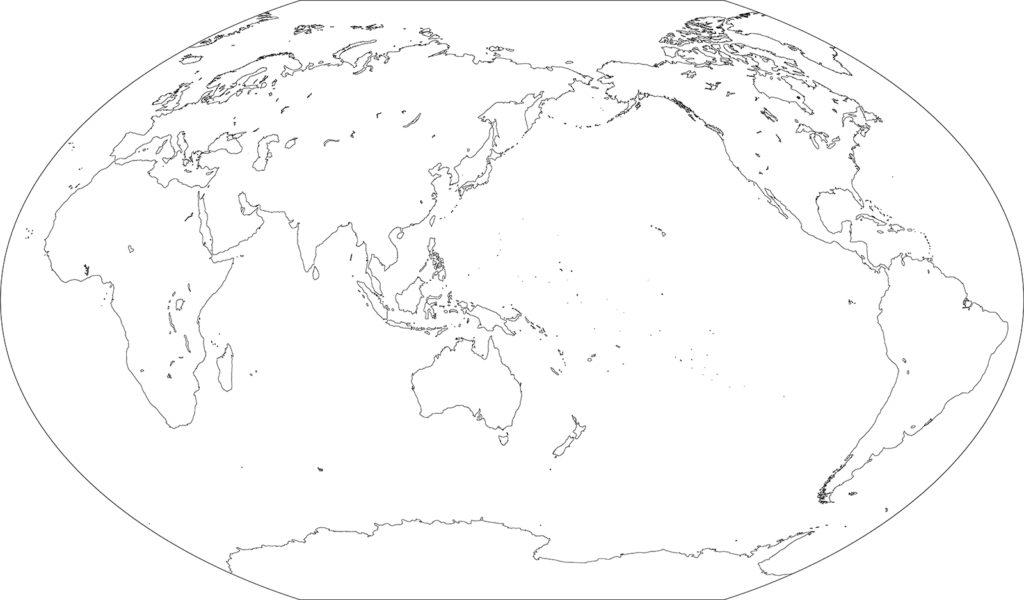 世界地図-ヴィンケル図法as-白地図-国境あり
