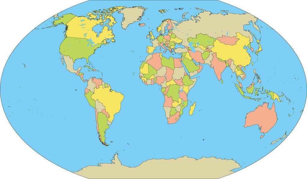 世界地図-ヴィンケル図法ep-国別-海