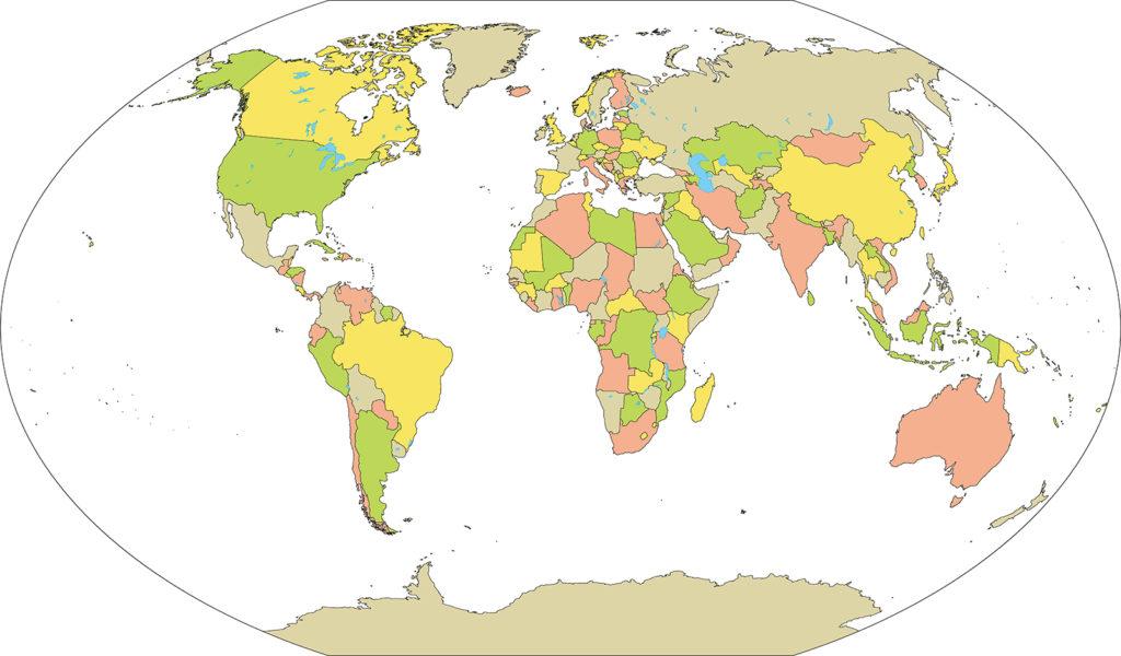 世界地図-ヴィンケル図法ep-国別