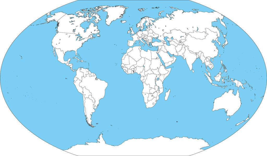 世界地図-ヴィンケル図法ep-白地図-国境あり-海