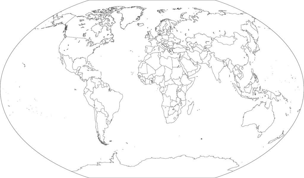 世界地図-ヴィンケル図法ep-白地図-国境あり