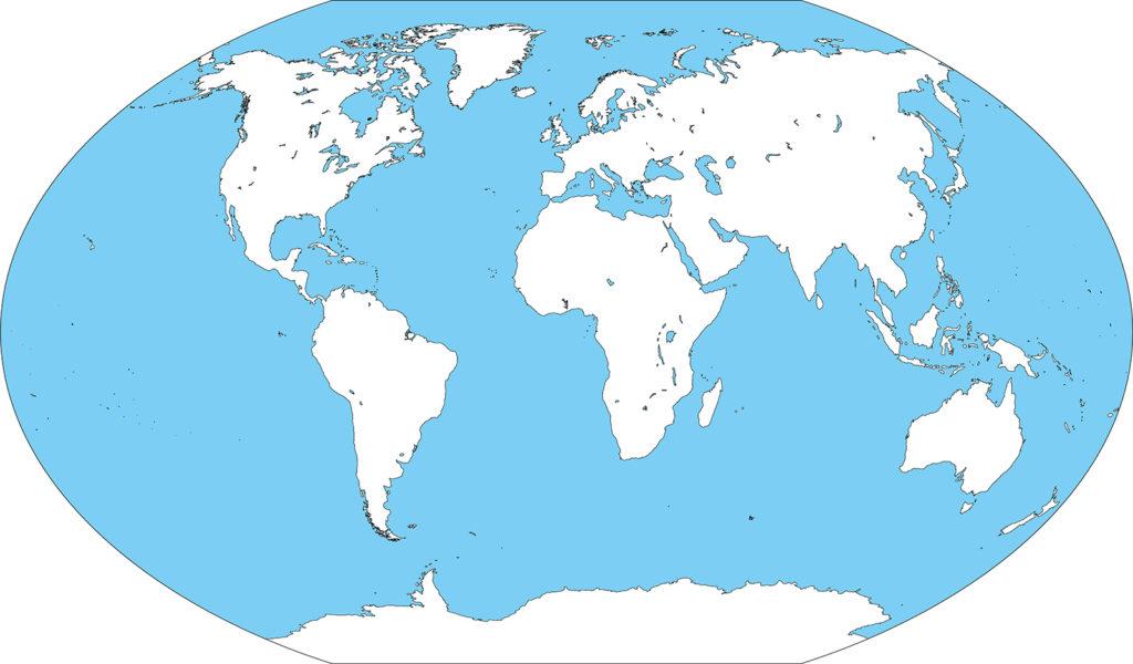 世界地図-ヴィンケル図法ep-白地図-国境なし-海