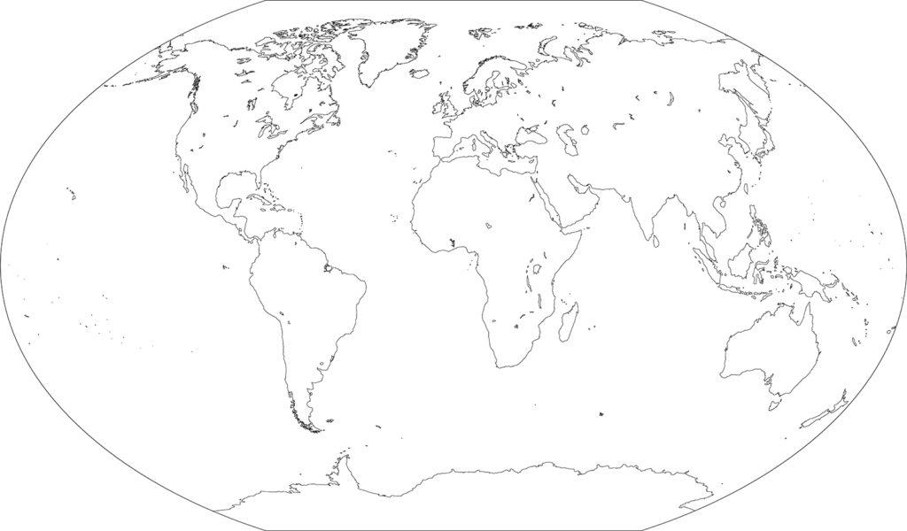 世界地図-ヴィンケル図法ep-白地図-国境なし