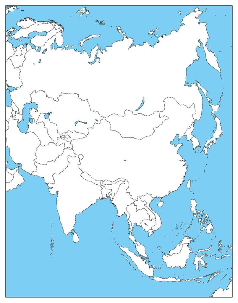 アジア地域-白地図-国旗あり-海