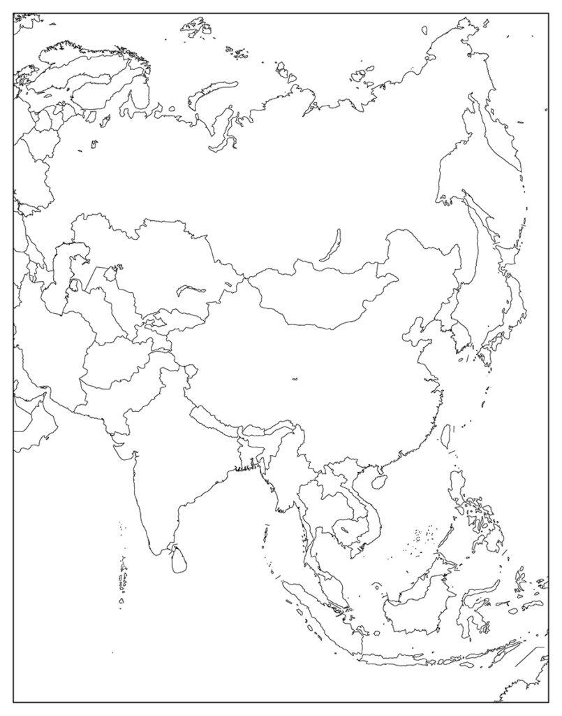 アジア地域-白地図-国旗あり