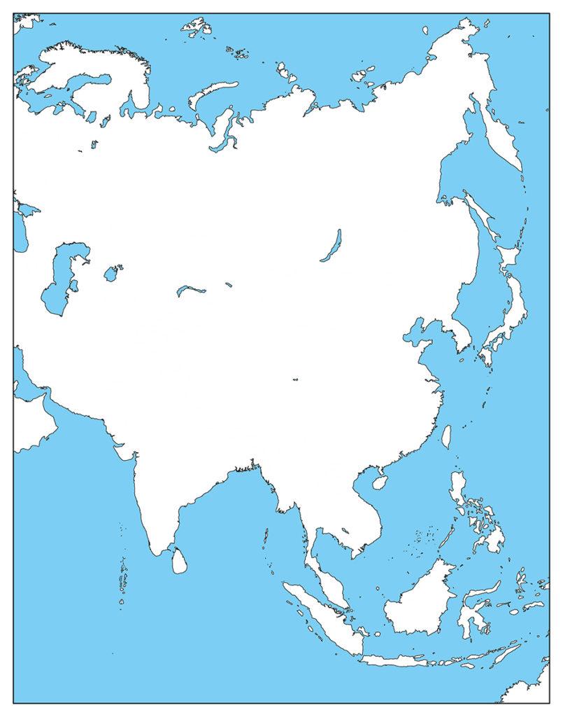 アジア地域-白地図-国旗なし-海