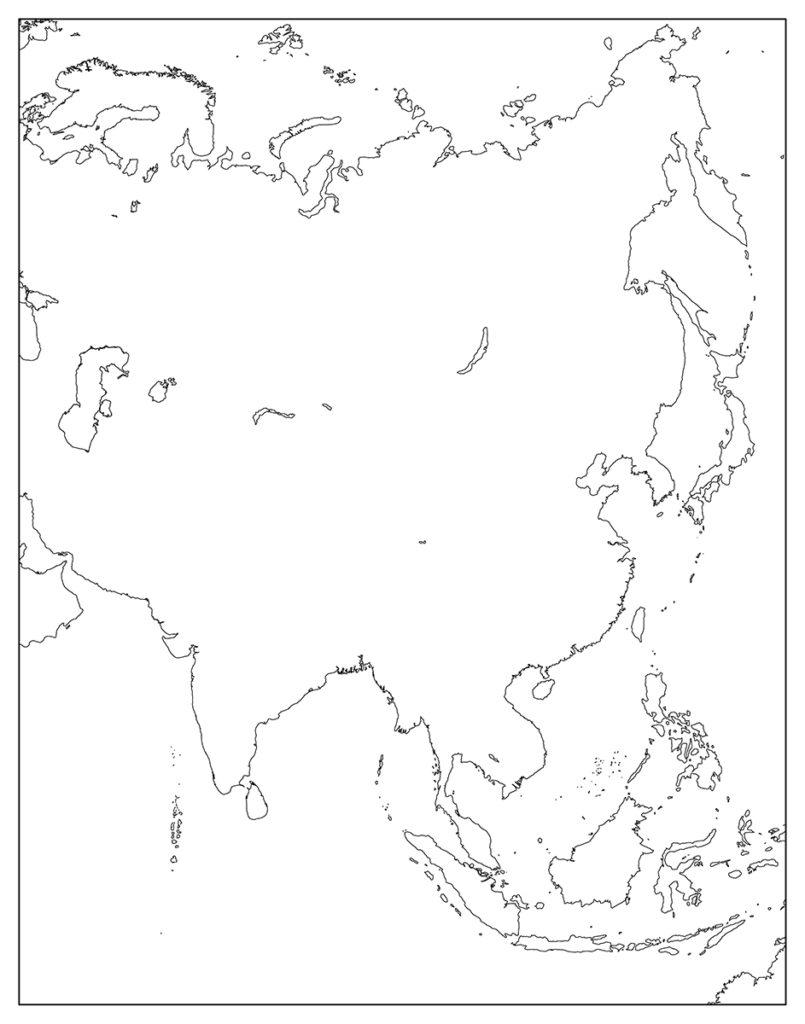 アジア地域-白地図-国旗なし