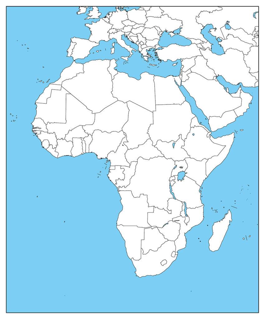 アフリカ地域-白地図-国境あり-海
