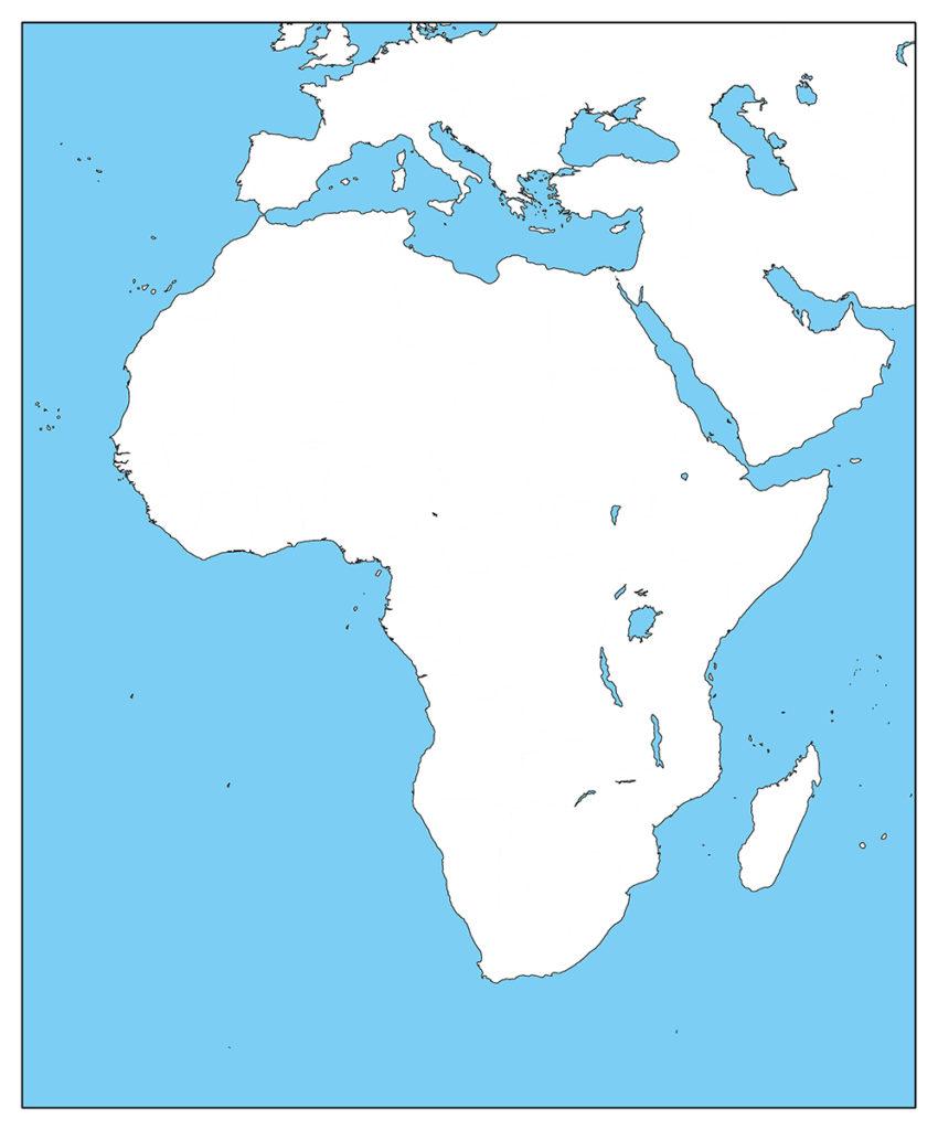 アフリカ地域-白地図-国境なし-海