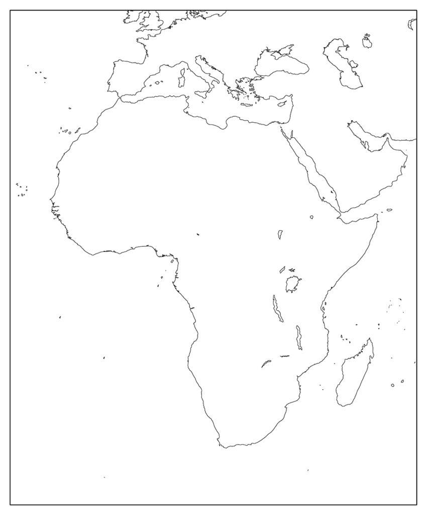 アフリカ地域-白地図-国境なし