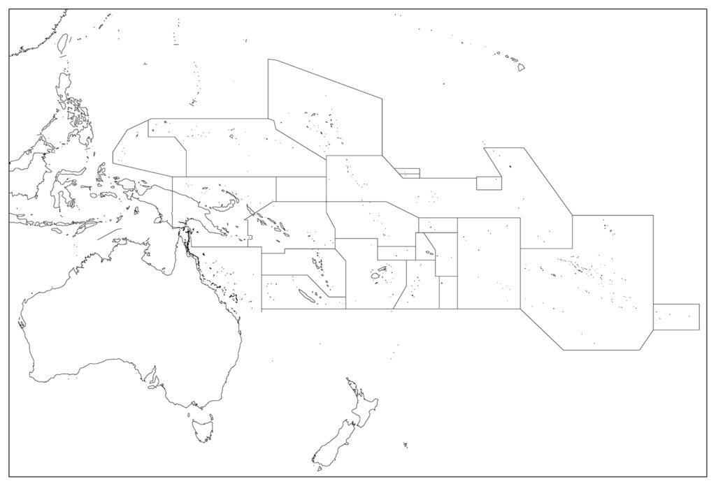 オセアニア地域-白地図-国境あり