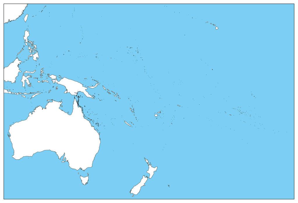オセアニア地域-白地図-国境なし-海