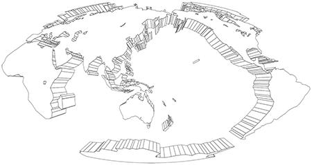 モルワイデ図法-立体-白