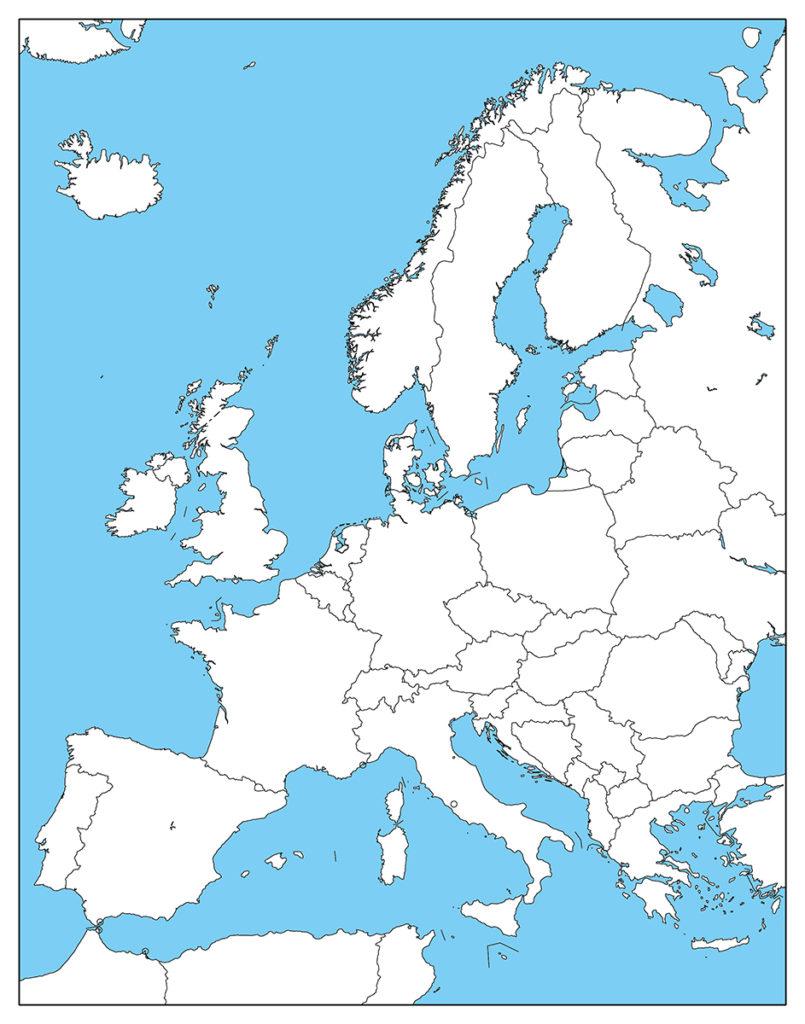 ヨーロッパ地域-白地図-国境あり-海