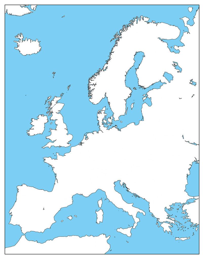 ヨーロッパ地域-白地図-国境なし-海