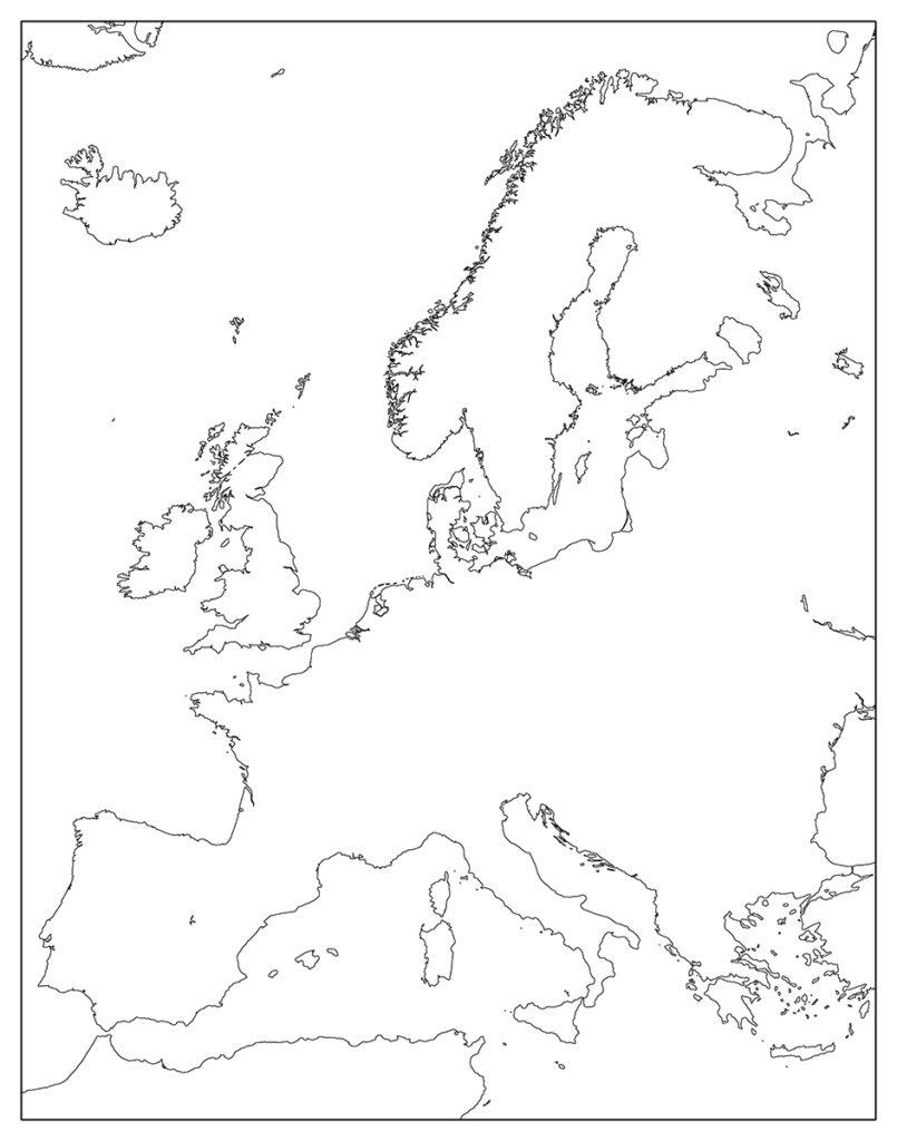 ヨーロッパ地域-白地図-国境なし