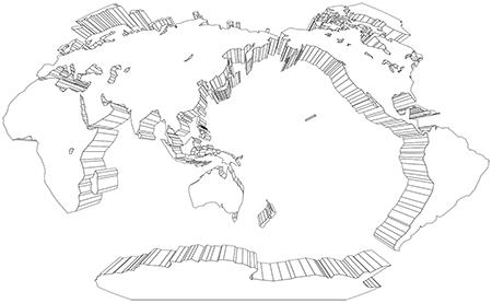 ヴィンケル図法-立体-白