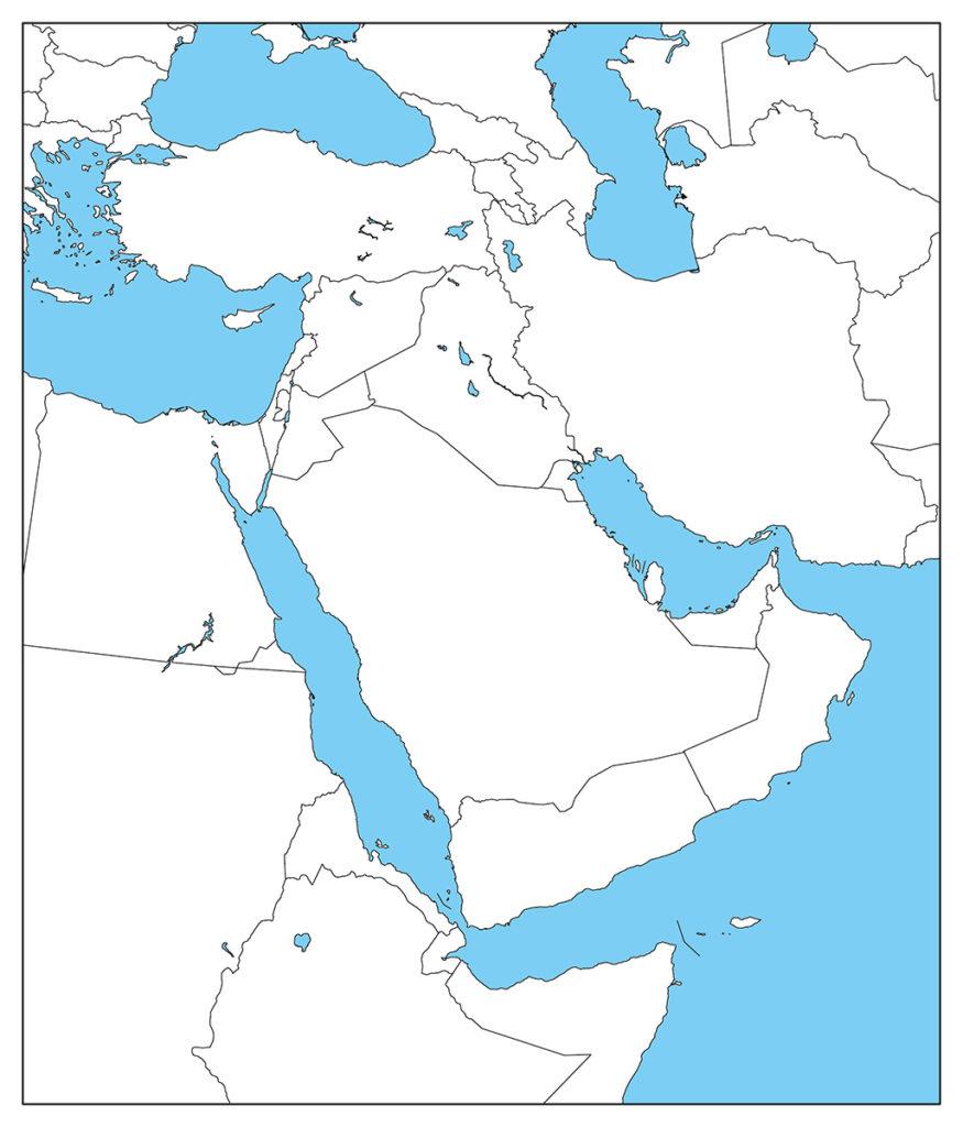 中東地域-白地図-国境あり-海