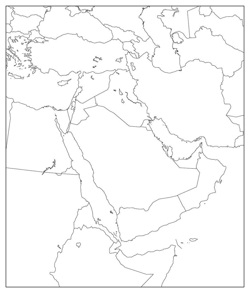 中東地域-白地図-国境あり