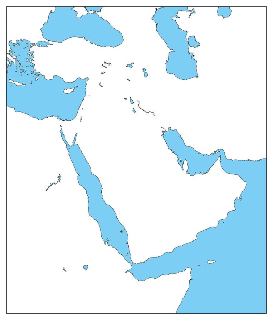 中東地域-白地図-国境なし-海