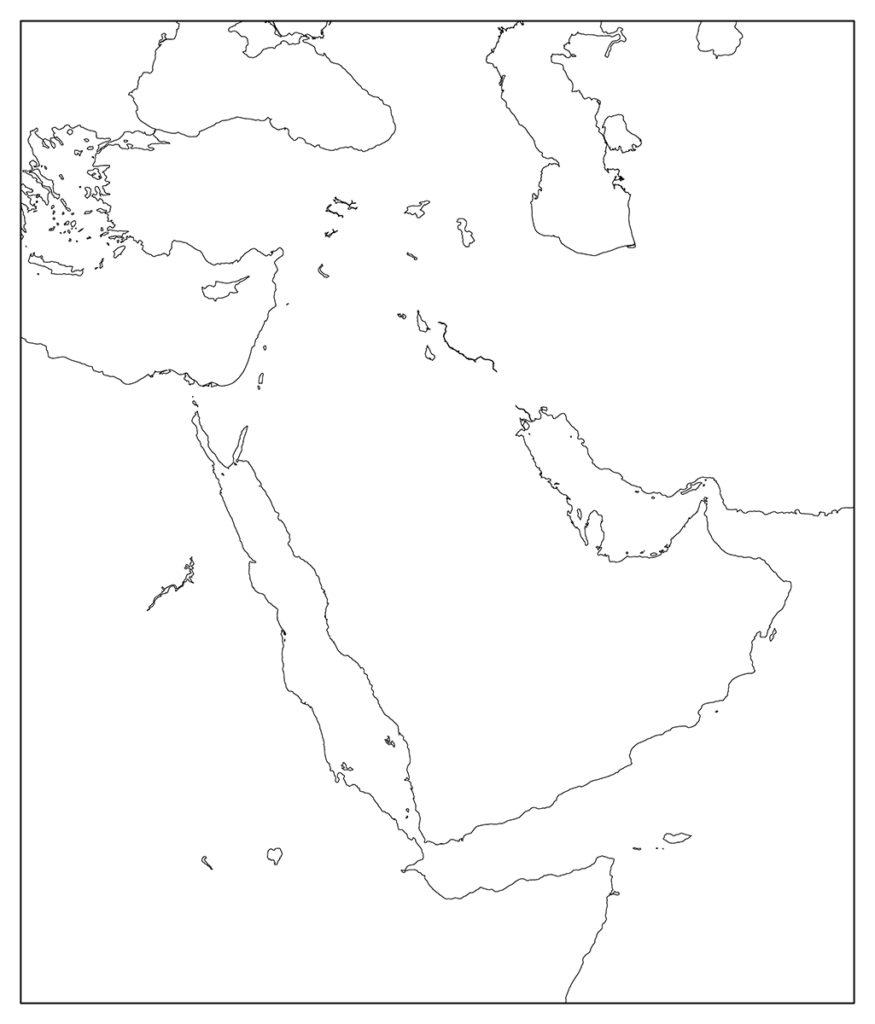 中東地域-白地図-国境なし